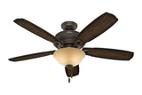 "Hunter Ambrose Collection - 52"" Ceiling Fan in Onyx Bengal Bowl Light Kit"