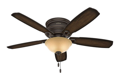 "Hunter Ambrose Collection - 52"" Ceiling Fan in Onyx Bengal Low Profile Bowl Light Kit"