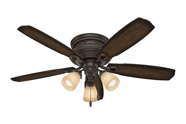 "Hunter Ambrose Collection - 52"" Ceiling Fan in Onyx Bengal Low Profile Three Light Kit"