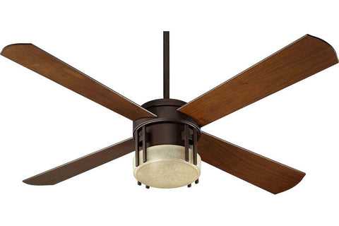 "Quorum 53524-86 52"" Mission in Oiled Bronze with Walnut Blades Indoor Rated Ceiling Fan"