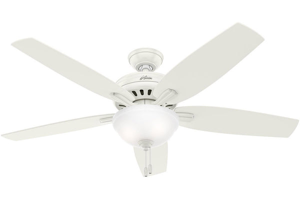 "Hunter Newsome Collection - 56"" Ceiling Fan in Fresh White Bowl Light Kit"