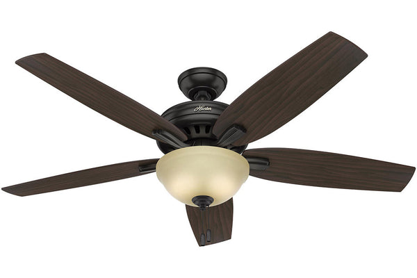 "Hunter Newsome Collection - 56"" Ceiling Fan in Premier Bronze Bowl Light Kit"