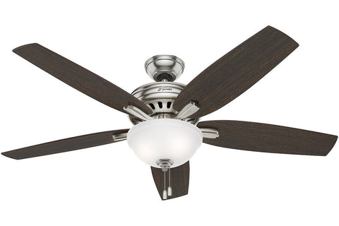 "Hunter Newsome Collection - 56"" Ceiling Fan in Brushed Nickel Bowl Light Kit"