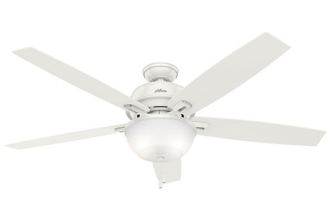 "Hunter Donegan Collection - 60"" Ceiling Fan in Fresh White Bowl Light Kit"