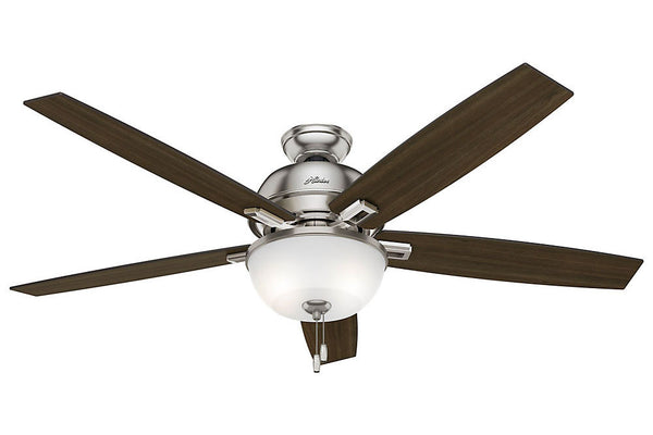 "Hunter Donegan Collection - 60"" Ceiling Fan in Brushed Nickel Bowl Light Kit"