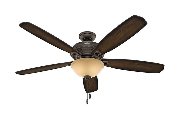 "Hunter Ambrose Collection - 60"" Ceiling Fan in Onyx Bengal Bowl Light Kit"