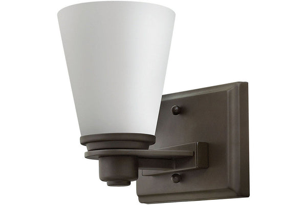 Hinkley 5550KZ Avon Glass Wall Sconce Lighting in Buckeye Bronze with Etched Opal Glass