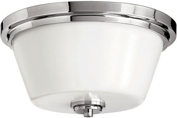 Hinkley 5551CM Avon Round Blown Glass Flush Mount Lighting in Chrome with Hand-Blown Cased Opal Glass