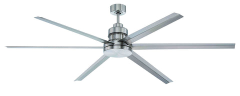 "Craftmade Mondo MND72BNK6 72"" Ceiling Fan with Blades Included in Brushed Polished Nickel"