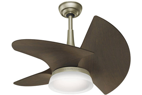 "Casablanca Orchid - 30"" Ceiling Fan in Pewter Revival / Walnut - 4 speed wall control included"