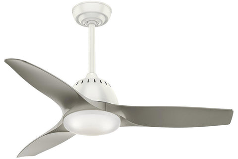 "Casablanca Wisp - 44"" Ceiling Fan in Fresh White with 3 Pewter blades - includes 4 speed handheld remote control"