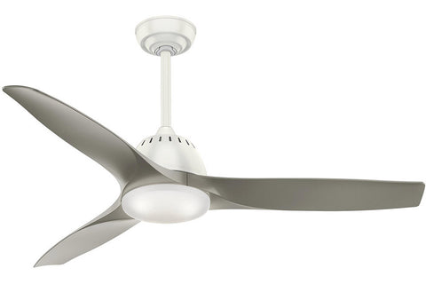 "Casablanca Wisp - 52"" Ceiling Fan in Fresh White with 3 Pewter blades - includes 4 speed handheld remote control"