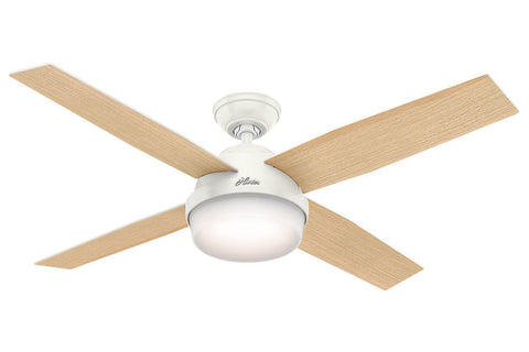 "Hunter Dempsey Collection - 52"" Ceiling Fan in Fresh White Integrated Light Kit"