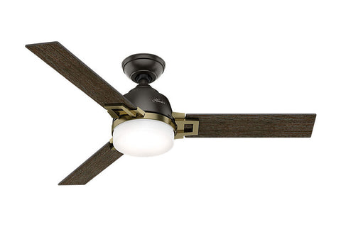"Hunter Leoni - 48"" Ceiling Fan in Noble Bronze + Modern Brass"