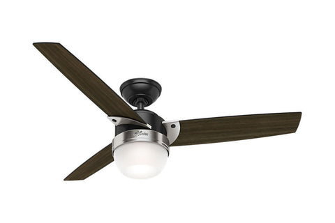 "Hunter Flare - 48"" Ceiling Fan in Matte Black + Brushed Nickel"