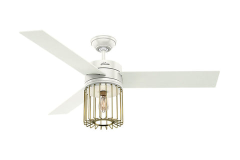 "Hunter Ronan - 52"" Ceiling Fan in Fresh White + Modern Brass"