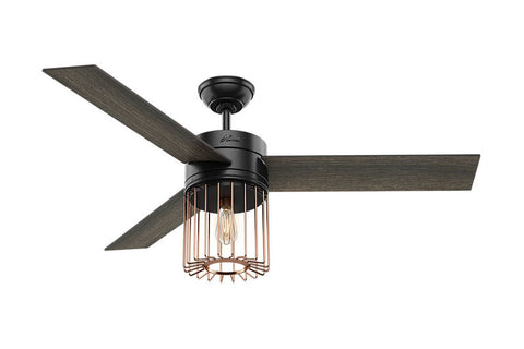 "Hunter Ronan - 52"" Ceiling Fan in Matte Black + Satin Copper"