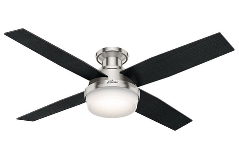 "Hunter Dempsey Collection - 52"" Ceiling Fan in Brushed Nickel Low Profile Integrated Light Kit"
