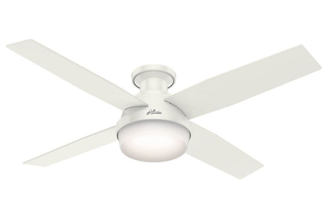 "Hunter Dempsey Collection - 52"" Ceiling Fan in Fresh White Low Profile Integrated Light Kit"