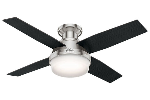 "Hunter Dempsey Collection - 44"" Ceiling Fan in Brushed Nickel Low Profile Integrated Light Kit"