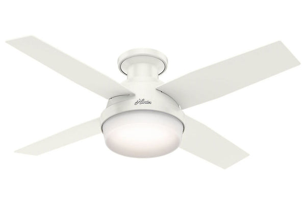 "Hunter Dempsey Collection - 44"" Ceiling Fan in Fresh White Low Profile Integrated Light Kit"