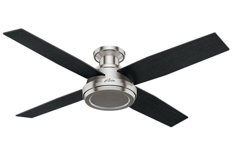 "Hunter Dempsey Collection - 52"" Ceiling Fan in Brushed Nickel Low Profile No Light Kit"