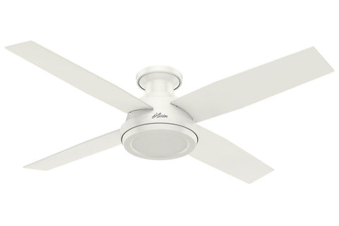 "Hunter Dempsey Collection - 52"" Ceiling Fan in Fresh White Low Profile No Light Kit"