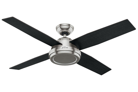 "Hunter Dempsey Collection - 52"" Ceiling Fan in Brushed Nickel No Light Kit"
