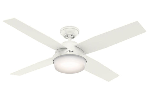 "Hunter Dempsey Collection - 52"" Ceiling Fan in Fresh White Integrated Light Kit- ETL Damp"