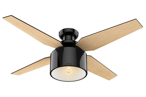 "Hunter Cranbrook Collection - 52"" Ceiling Fan in Gloss Black Low Profile"