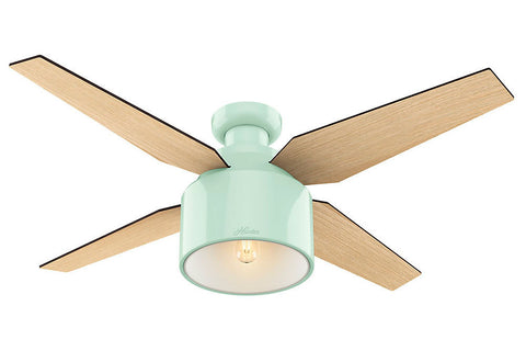 "Hunter Cranbrook Collection - 52"" Ceiling Fan in Mint Green Low Profile"