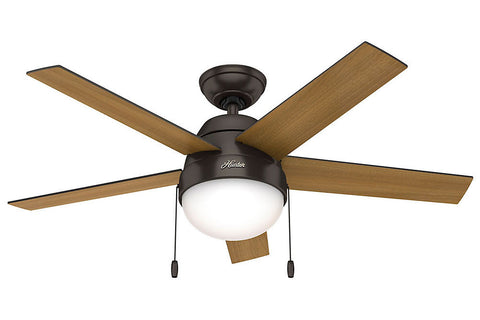 "Hunter Anslee Collection - 46"" Ceiling Fan in Premier Bronze Integrated Light Kit"