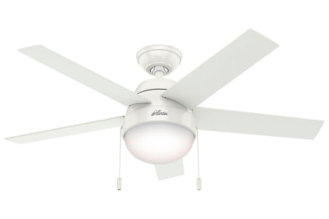 "Hunter Anslee Collection - 46"" Ceiling Fan in Fresh White Integrated Light Kit"