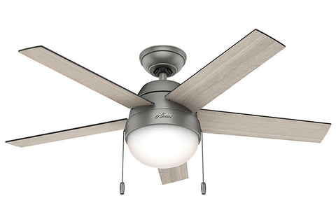 "Hunter Anslee Collection - 46"" Ceiling Fan in Matte Silver Integrated Light Kit"