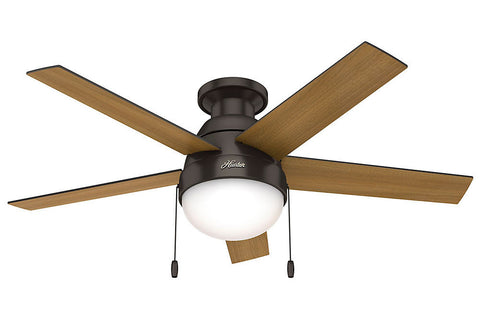 "Hunter Anslee Collection - 46"" Ceiling Fan in Premier Bronze Low Profile Integrated Light Kit"