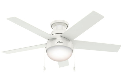 "Hunter Anslee Collection - 46"" Ceiling Fan in Fresh White Low Profile Integrated Light Kit"