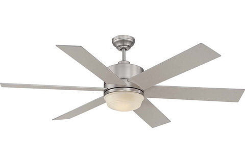 "Savoy House 60-820-6SV-SN 60"" Velocity in Satin Nickel with Silver Blades Damp Rated Outdoor Ceiling Fan"
