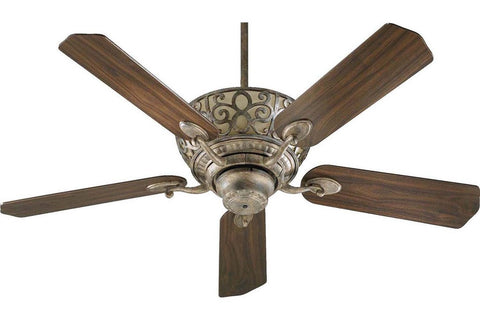 "Quorum 69525-58 52"" Cimarron in Mystic Silver with Reversible Mystic Silver and Walnut Blades Indoor Rated Ceiling Fan"