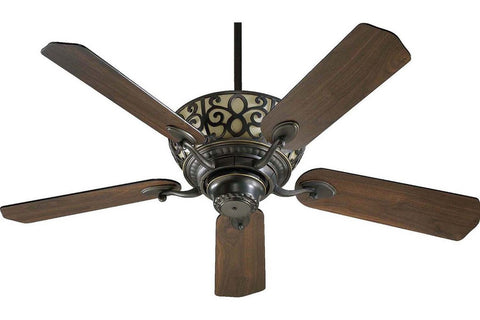 "Quorum 69525-95 52"" Cimarron in Old World with Reversible Old World and Walnut Blades Indoor Rated Ceiling Fan"