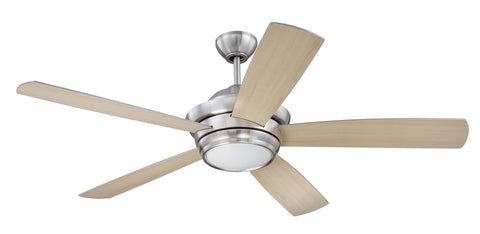 "Craftmade Tempo TMP52BNK5 52"" Ceiling Fan w/Blades and Light Kit in Brushed Polished Nickel"