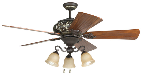"Craftmade - K11237 - 52"" Ceiling Fan Motor with Blades Included - Ophelia - Aged Bronze/Vintage Madera"