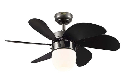 "Westinghouse 7226100 30"" Turbo Swirl in Gun Metal with Black Blades Indoor Rated Ceiling Fan"