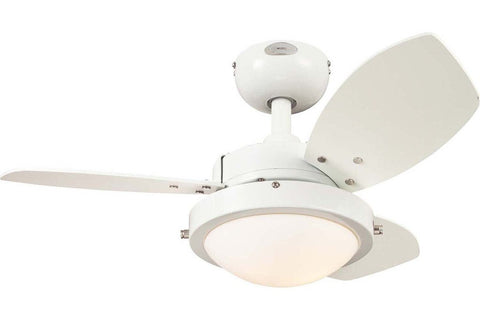 "Westinghouse 7247200 30"" Wengue in White with Reversible Beech and White Blades Indoor Rated Ceiling Fan"