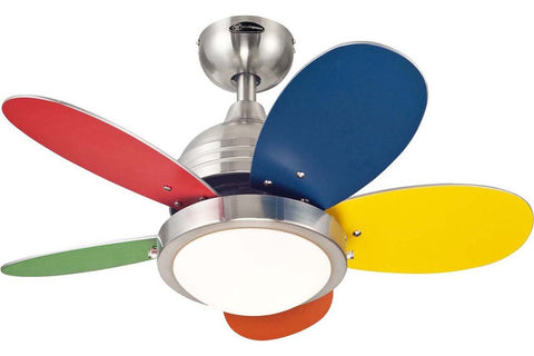 "Westinghouse 7247500 30"" Roundabout in Brushed Nickel with Reversible Multi-Colored and White Blades Indoor Rated Ceiling Fan"