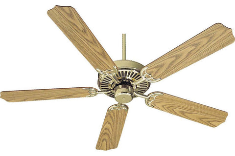 "Quorum 77525-2 52"" Capri in Polished Brass with Reversible Dark Oak and Medium Oak Blades Indoor Rated Ceiling Fan"