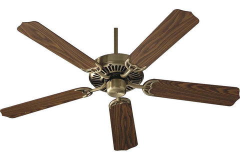 "Quorum 77525-4 52"" Capri in Antique Brass with Reversible Dark Oak and Medium Oak Blades Indoor Rated Ceiling Fan"