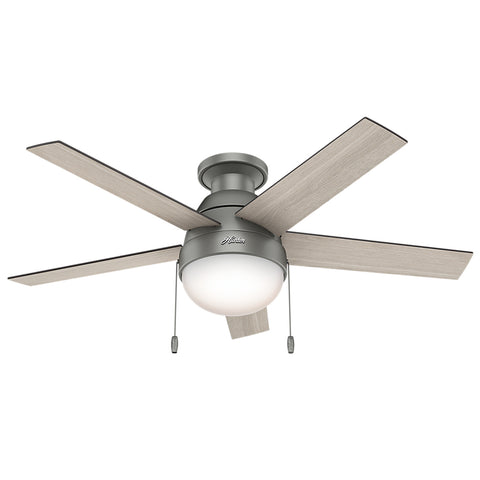 "Hunter Anslee Collection - 46"" Ceiling Fan in Matte Silver Low Profile Integrated Light Kit"