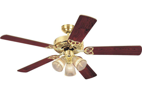 "Westinghouse 7804365 52"" Vintage in Polished Brass with Reversible Oak and Walnut Blades Indoor Rated Ceiling Fan"