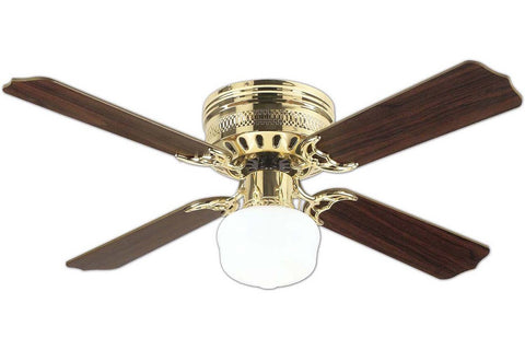 "Westinghouse 7812500 42"" Casanova in Polished Brass with Reversible Oak and Walnut Blades Indoor Rated Ceiling Fan"