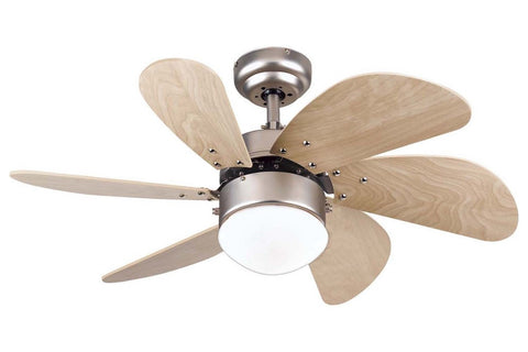 "Westinghouse 7814465 30"" Turbo Swirl in Brushed Aluminum with Light Maple Blades Indoor Rated Ceiling Fan"